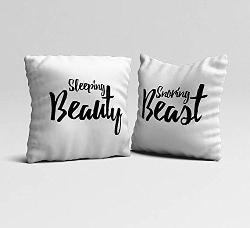 Snoring Beast Sleeping Beauty Throw pillowcases set of 2 couples funny white pillow cases housewarming gift 16x16 modern bedroom accent unique pillow cover Couple Pillowcases Wedding Gift
