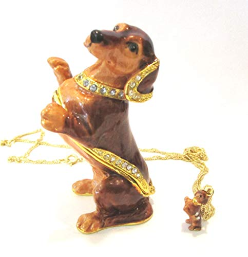 - Kingspoint Brown Dachshund Dog Jeweled Trinket Box w Matching Pendant Necklace
