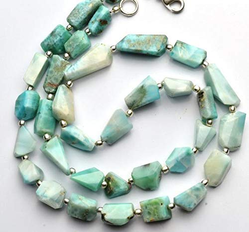 1 Strand Natural Larimar Faceted Nugget Beads 19.5 Inch 6x7-12x20MM Long Nuggets by Gemswholesale ()