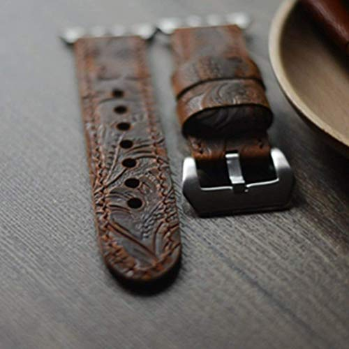 handmade Genuine Leather strap Apple Watch Band iwatch 38mm mens Watch Strap iWatch Band Accessory iWatch Strap brown 22mm ()