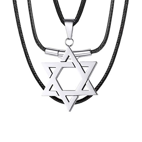 U7 Stainless Steel Star of David Necklace with 2mm Wide Black Leather Cord Chain 22