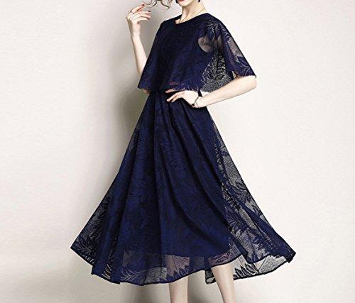 ed 2XL da abito di in nero nuovo MOM cappa Estate blu elegante donna 2018 elegante vestito colore pizzo wqOTfp1