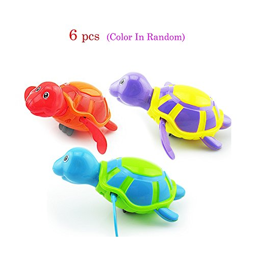 6 pcs Cute Bath Toy Animals Swimming Toy Wind-up Turtle Floating Plastic Bath Shower Toy for Baby Toddler (Show Me Pictures Of Monster High)