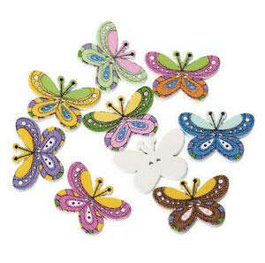 JumpingLight 20 Butterfly 2-Hole White Wood Buttons 1