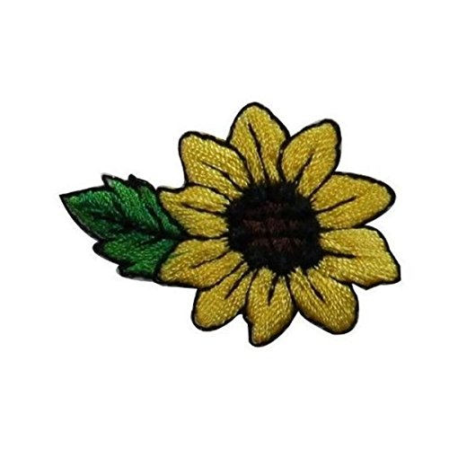 - ID #6031 Small Yellow Sunflower Flower Garden Iron On Embroidered Patch Applique