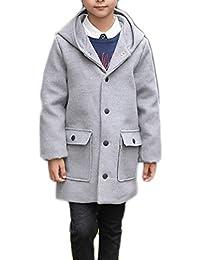 Cruiize Boys Warm Hooded Long Jacket Loose Fit Soft Wool Blend Pea Coats