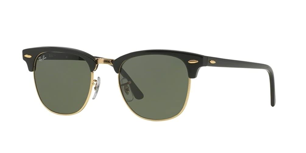 Ray Ban Sunglasses Clubmaster 3016 (51 mm, Black Solid Lens)