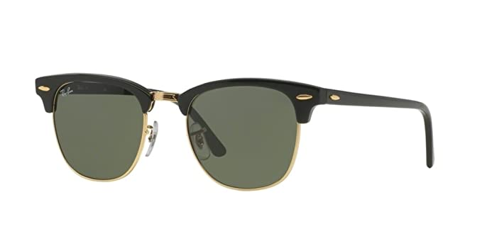 b3f2951b56 Amazon.com: Ray Ban Sunglasses Clubmaster 3016 (51 mm, Black Solid ...