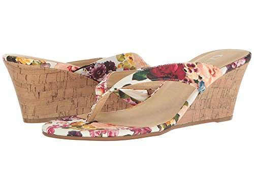 CL By Laundry Women's Tawny White Rose Fabric Sandal