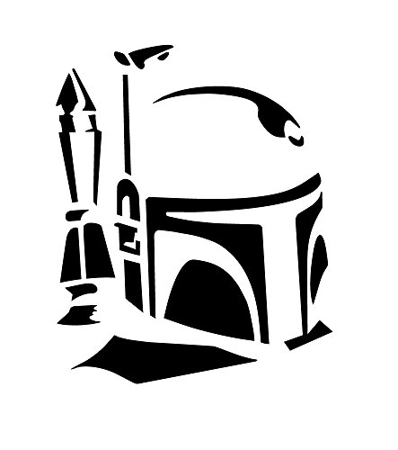 BOLDERGRAPHX 6132b Boba Fett Profile black vinyl decal for bumpers, windows, laptops or any smooth surface (Knights Of The Old Republic Windows 7)