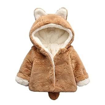 Ropa Bebé , Amlaiworld Bebé niño niña de otoño invierno encapuchados abrigo capa chaqueta gruesa ropa caliente 0-36 Mes (Tamaño:0-6Mes, Caqui)