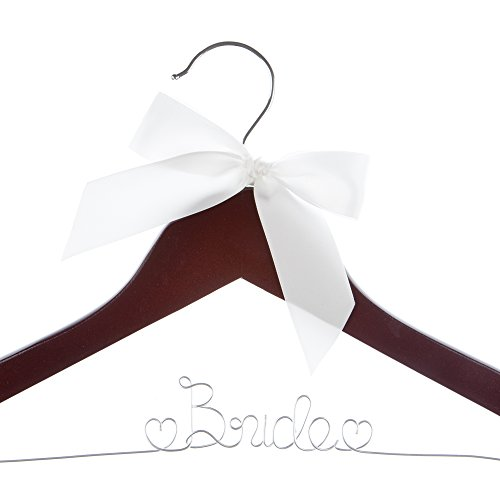 Bride to Be Wedding Dress Hanger Wooden and Wire Hangers for Gown (Mahogany Wood Silver Wire)