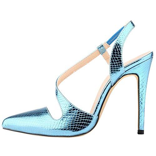 Shoe Blue Snake Skin SW Sandals Pump Dress Women's fereshte Color Heeled Sky Candy High xOS5wR