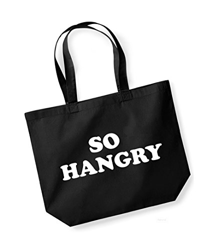 So Hangry- Large Canvas Fun Slogan Tote Bag Black/White
