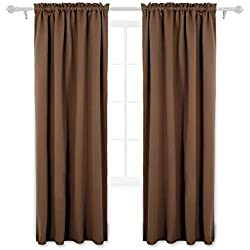 Deconovo Brown Blackout Curtains Rod Pocket Curtain Panels Room Darkening Curtains for Living Room 52 W x 84 L inch 2 Panels