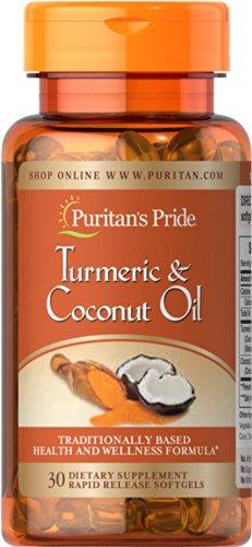 Puritan's Pride Turmeric Standardized Extract 400mg & Coconut Oil 500 mg-30 Softgels