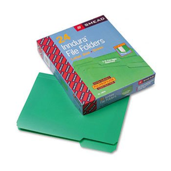 Smead® Top Tab Poly Colored File Folders FOLDER,LTR,1/3,POLY,GN (Pack of5)