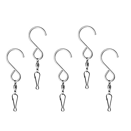 5-Pack Smooth Spinning Swivel Clips Wind Chime Mobile Spinner Hangers Crystal Twister Rotating Party Supply S-Hooks - 3.2 inches Long