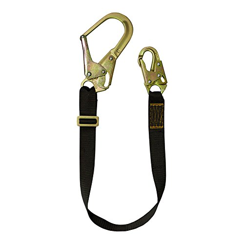 Fusion Climb 2ft 24''x1.75'' Adjustable Fall Safety Zipline Lanyard with Steel Snap Hooks 23kN Black by Fusion Climb
