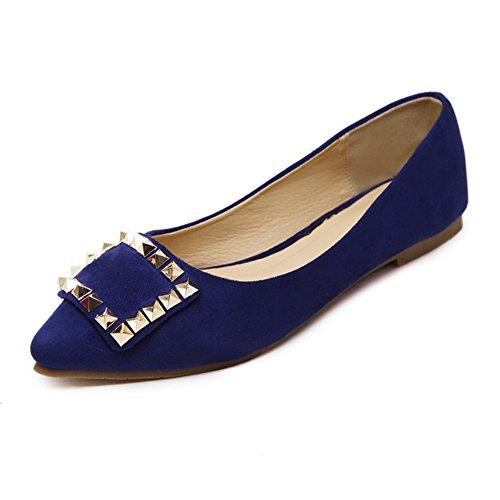 Primavera y verano del remache zapatos puntiagudos/Zapatos de boda y damas de honor/Zapatos planos y poco profundos/Zapatos D