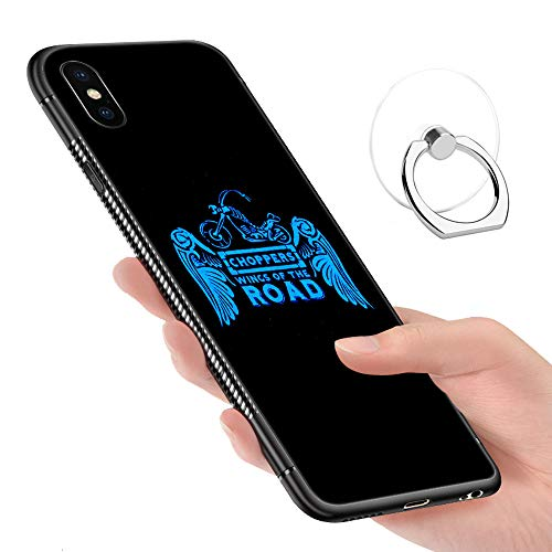 iPhone XR Case,iPhone XR Cases Tempered Glass Pattern Painted Choppers Wing of The Road Bumper Cover for iPhone XR ()