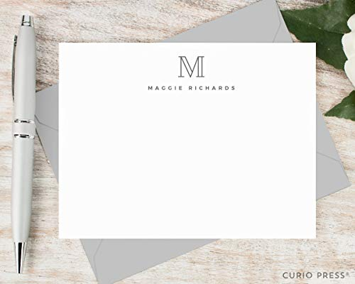 Monogram Stationery Personalized - OUTLINE MONOGRAM - Personalized Flat Professional Stationery/Stationary Card Set