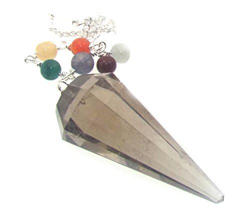 Smokey Quartz Faceted Gemstone Pendulum with Chakra Chain by Angelleesa
