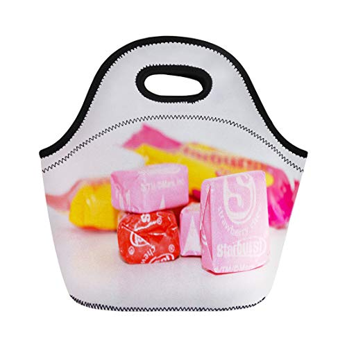 Semtomn Lunch Bags Colorful Candy Norman Ok November 11 Individually Wrapped Starburst Neoprene Lunch Bag Lunchbox Tote Bag Portable Picnic Bag Cooler Bag]()