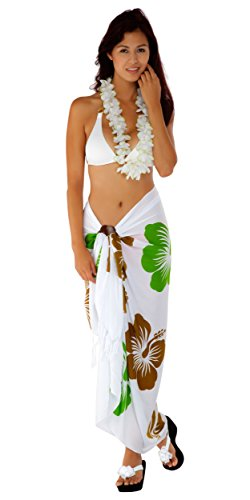 Sarong Sarongs para o blanco verde Traje ba Khaki hawaiano de lima mundo 1 mujeres BrqfB