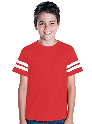 LAT Youth 100% Cotton Vintage Football Jersey Tee, VN Red/BD White, s
