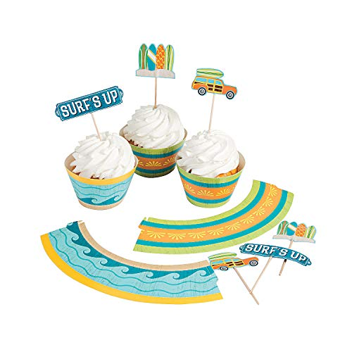 Fun Express 1 X Surf's Up Cupcake Wrappers with Picks - Blue, Yellow, Green, White - 100 Pieces ()