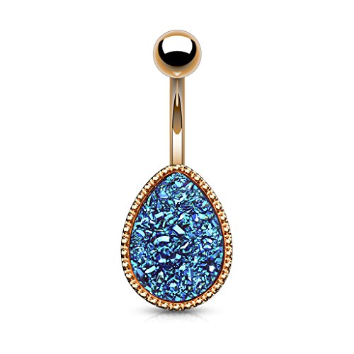 Flower Ring Teardrop Belly (Inspiration Dezigns Belly Button Navel Ring Rose Gold 14G 10mm Druzy Blue Stone Tear Drop)
