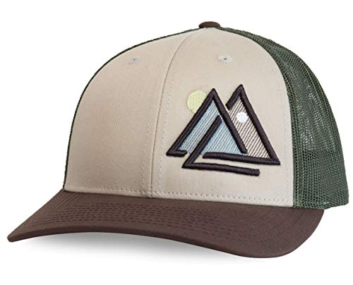 WUE Outdoors Day and Night Trucker Hat Mesh Cap (Tan/Green/Brown)
