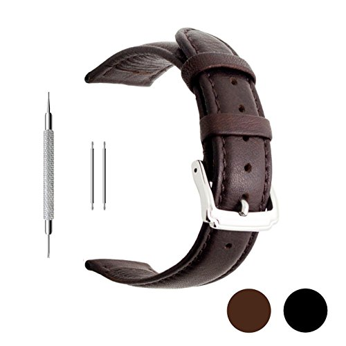 [Berfine 18mm Brown Calf Leather Watch Band Replacement,Extra Soft Watch Strap for Men Women] (18 Mm Leather)