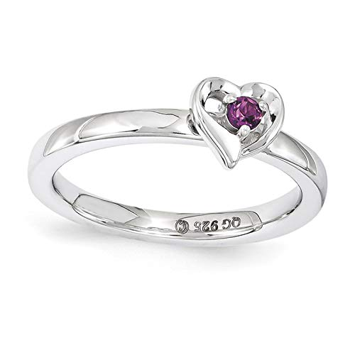 (925 Sterling Silver Rhodium-plated Rhodolite Garnet Heart Ring Band Size 7 by Stackable Expressions)