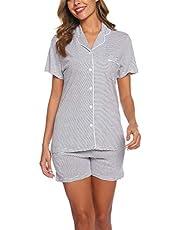 ENJOYNIGHT Women's Cute Sleeveless Print Tee and Shorts Sleepwear Tank Top Pajama Set