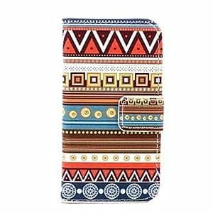 cubierta de cuero alfombra líneas tribales patrón u con soporte y tarjeta de la ranura para el iphone 4 / 4s