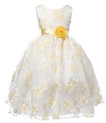 OLIVIA KOO Girls Satin Organza Floral Print Flower Girl Dress
