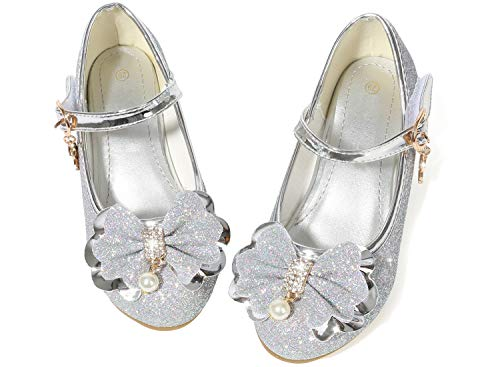 Waloka Sliver Girls Mary Jane Shoes Size 12 6 Yr Prom Sequins Wedding Little Girls Princess Dress Shoes Party 6T Toddler Glitter Shoes Medium High Heels for Girls 7 Year Old Cute ( 03Sliver 30