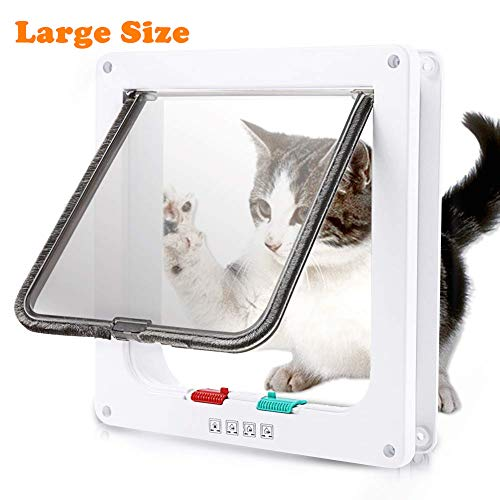 """Mythfly Cat Door - Large (Outer Size 9.9"""" X 9.2"""") 4 Way Locking - Cat Doors For Interior Doors - Waterproof Pet Door for Cats Small Dog with Circumference Shorter Than 23"""""""