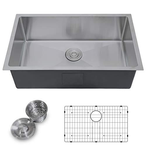 AZESTY Standart 30-inch PRO 16 Gauge Undermount Stainless Steel Single Bowl Kitchen Sink