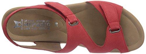 Mephisto Paris Bucksoft 6925 Pewter, Women's Open Toe Sandals Red