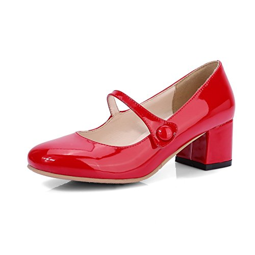 BalaMasa Womens Chunky Heels Low-Cut Uppers Round-Toe Red Patent-Leather Pumps Shoes - 9 B(M) US