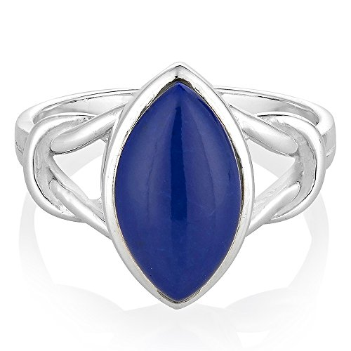 (925 Sterling Silver Blue Lapis Lazuli Gemstone Marquise Shape Band Ring Jewelry Size 9)