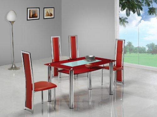 Italian Designer Small Dining Table Red Glass 135cm Seats Upto 6