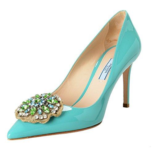 Prada Women's Blue Patent Leather High Heel Pumps Shoes Sz US 9 IT 39