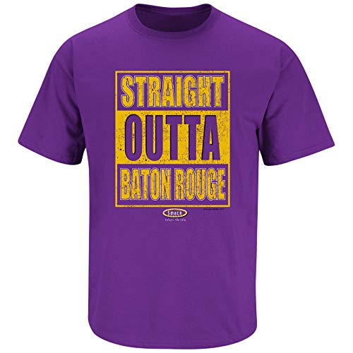 Louisiana Football Fans. Straight Outta Baton Rouge Purple T Shirt (Sm-5X) (Short Sleeve, Large)