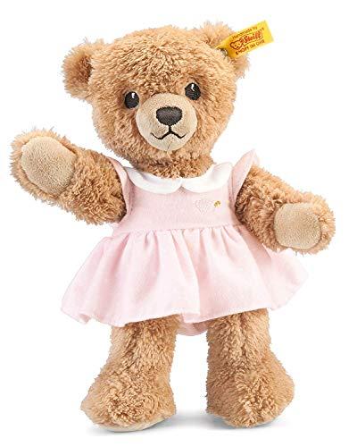 Steiff Schlaf Gut Bär - 25 cm - Teddybär mit Kleid - Kuscheltier für Babys - weich & waschbar - beige / rosa (239526)