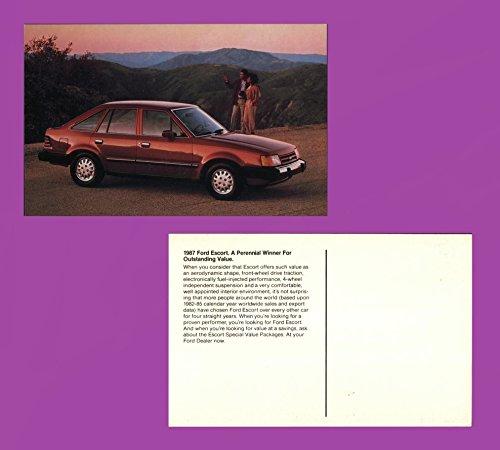 1987 FORD ESCORT 4-Dr. SEDAN HATCHBACK VINTAGE FACTORY COLOR POSTCARD - USA - GREAT ORIGINAL POST CARD !! - Ford Escort Hatch