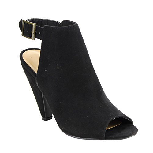 BAMBOO EE99 Women's Buckle Strap Cut Out Conical Heel Ankle Booties